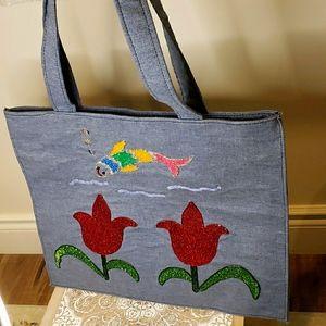 Handcrafted Denim Thin Shoulder Bag